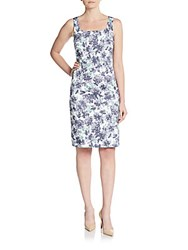 Peserico Floral Sheath Dress Teal Blue