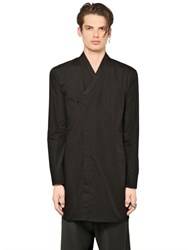 D.Gnak Cotton Poplin Long Wrap Shirt