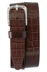 Men's Trask 'Rex' Croc Embossed American Steer Leather Belt