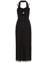 Nanushka Kenzie Tech Button Midi Dress Black