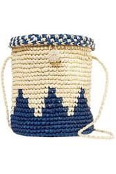 Nannacay Woman Two Tone Toquilla Straw Bucket Bag Navy