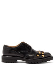 Versace Medusa Raised Sole Leather Brogues Black Multi