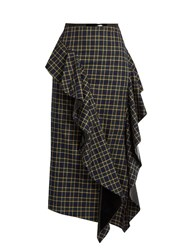 A.W.A.K.E. Ruffled Tartan Cotton Skirt Green Multi