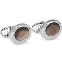 Dunhill X Centric Rhodium Plated Mother Of Pearl Cufflinks Silver