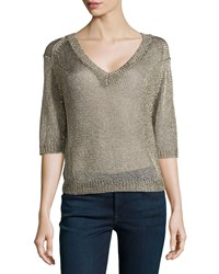 Halston Heritage V Neck Open Mesh Sweater Gold