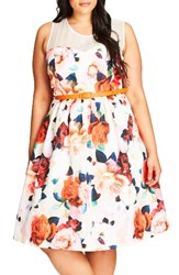 City Chic Plus Size Women's Floral Fever Belted Illusion Yoke Dress