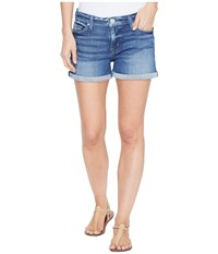 Hudson Asha Mid Rise Cuffed Five Pocket Shorts In Reigning Reigning Women's Shorts Blue