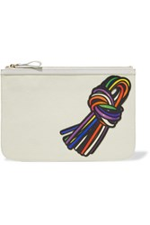 Pierre Hardy Appliqued Textured Leather Pouch White