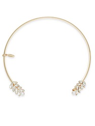 Natasha White Stone Cluster Choker Necklace Goldtone