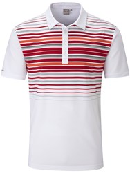 Ping Men's Cortes Chest Stripe Polo White And Red White And Red