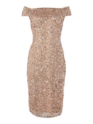 Adrianna Papell Beaded Off Shoulder Cocktail Dress Rose Gold