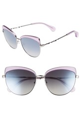 Diff Izzy 59Mm Polarized Cat Eye Sunglasses Amethyst Glitter Smoke Amethyst Glitter Smoke