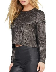 Kendall Kylie Long Sleeve Cotton Pullover Gunmetal
