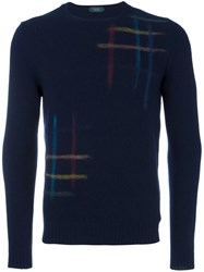 Zanone Stripes Motif Jumper Blue