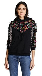 Needle And Thread Cross Stitch Flower Hoody Washed Black