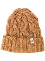 Inverallan Cable Knit Beanie Hat Brown