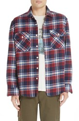 Ovadia And Sons Ian Plaid Flannel Shirt Blue Red Plaid