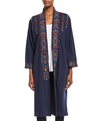 Johnny Was Cleo Embroidered Long Coat Plus Size Midnight Blue