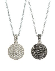 Judith Jack Crystal And Marcasite Pendant Necklace Silver