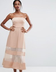 Aq Aq Bandeau Maxi Dress With Sheer Inserts Pink