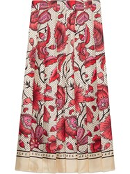 Gucci Silk Skirt With Watercolor Flower Print Neutrals