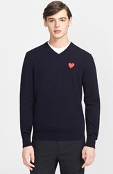 Men's Comme Des Garcons 'Play' Wool V Neck Sweater With Heart Applique Navy