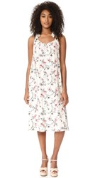 J.O.A. Flower Print Maxi Dress Off White Multi