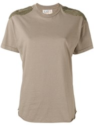 Sandrine Rose Shoulder Patch T Shirt Women Cotton S Green