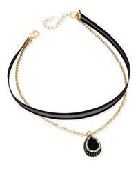 Inc International Concepts Gold Tone Pave Teardrop Black Mesh Ribbon Double Row Necklace Only At Macy's