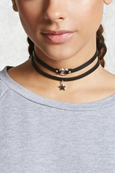 Forever 21 Faux Leather Choker Set Black Silver