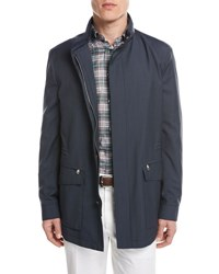 Brioni Micro Check Wool Field Jacket Blue