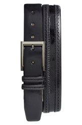 Men's Big And Tall Mezlan 'Diver' Crocodile Leather Belt Black