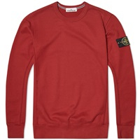 Stone Island Garment Dyed Cotton Fleece Crew Sweat Red