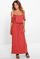Boohoo Open Shoulder Maxi Dress Chestnut