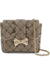 Red Valentino Redvalentino Quilted Point D'espirit And Canvas Shoulder Bag Beige