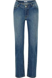 Opening Ceremony Faded Mid Rise Straight Leg Jeans Mid Denim