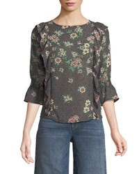 Dex 3 4 Sleeve Ruffled Floral Blouse Pink