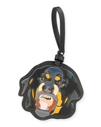 Givenchy Men's Leather Rottweiler Charm For Bag Or Briefcase Black Multi
