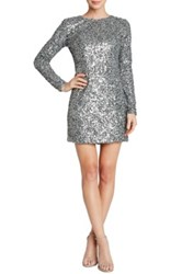 Dress The Population Bailey Long Sleeve Sequined Gray