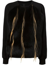 Vera Wang Raccoon And Goat Fur Panel Sweatshirt Black