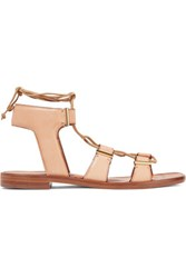Rosetta Getty Suede Trimmed Lace Up Leather Sandals Tan