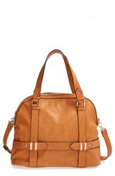 Sole Society 'Tristan' Faux Leather Bowler Bag Brown Camel