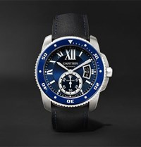 Cartier Calibre De Diver Automatic 42Mm Stainless Steel And Leather Watch Blue