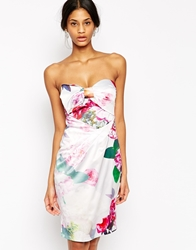 Lipsy Vip Bandeau Pencil Dress In Summer Floral Print Multi