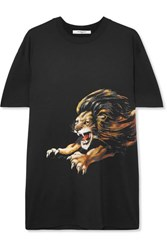 Givenchy Leo Oversized Embroidered Printed Cotton Jersey T Shirt Black