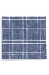Todd Snyder Windowpane Plaid Linen Pocket Square Indigo