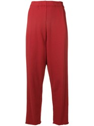 Raquel Allegra Cropped High Waisted Trousers Red