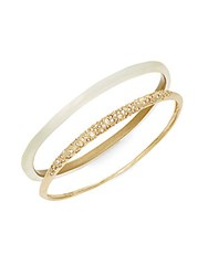 Alexis Bittar Lucite And Pave Crystal Tapered Bangle Set Ivory
