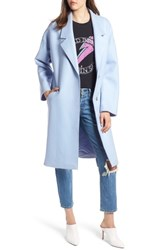 Kendall Kylie Drop Shoulder Midi Coat Ice Blue