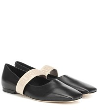 Burberry Logo Leather Ballet Flats Black